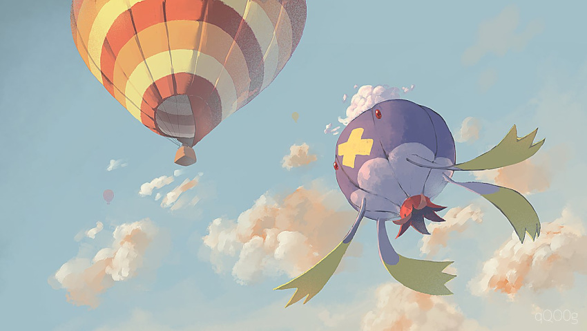 3_(qqo0g) aircraft artist_name clouds day drifblim flying from_below gen_4_pokemon hot_air_balloon no_humans outdoors pokemon pokemon_(creature) red_eyes sky solo watermark