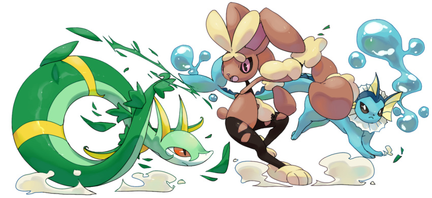 battle brown_eyes closed_mouth commentary creature english_commentary eye_contact frown full_body gen_1_pokemon gen_4_pokemon gen_5_pokemon looking_at_another lopunny mega_lopunny mega_pokemon no_humans pink_eyes pinkgermy pokemon pokemon_(creature) serperior simple_background vaporeon water white_background
