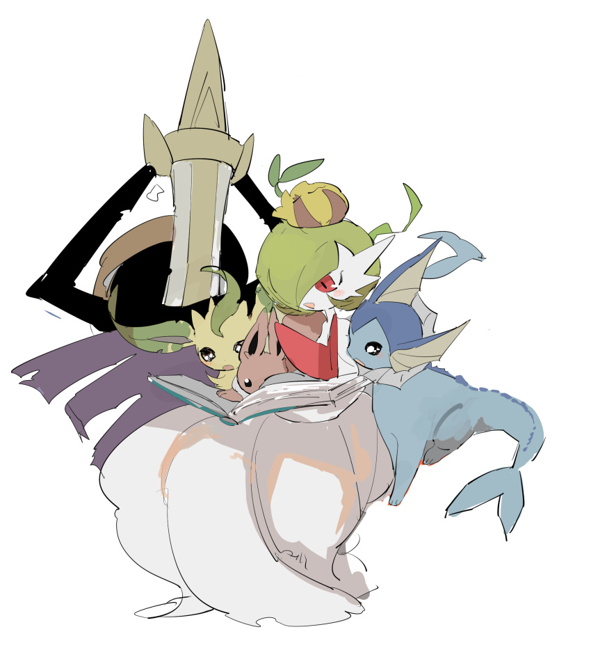 1girl :3 aegislash apios1 arms_behind_back bangs black_eyes black_sclera blush bob_cut book brown_sclera closed_eyes closed_mouth colored_skin commentary_request eevee flat_chest from_behind full_body gardevoir gen_1_pokemon gen_2_pokemon gen_3_pokemon gen_4_pokemon gen_6_pokemon green_hair hair_over_one_eye happy highres invisible_chair leafeon looking_down mega_gardevoir mega_pokemon on_head open_book open_mouth pokemon pokemon_(creature) pokemon_on_head reading red_eyes shield short_hair simple_background sitting sketch smile sunkern sword vaporeon weapon white_background white_eyes white_skin