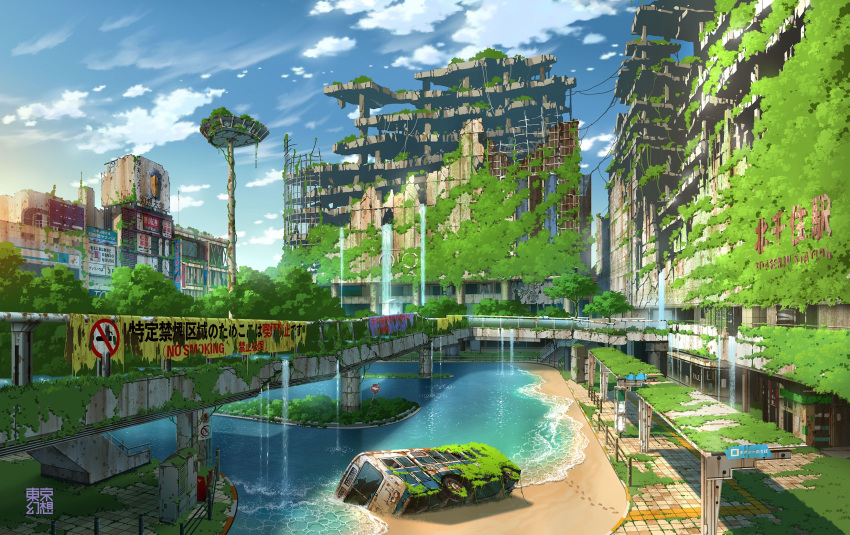 bridge bus clouds destroyed ground_vehicle highres motor_vehicle no_humans original overgrown sand scenery sign sky tokyogenso water