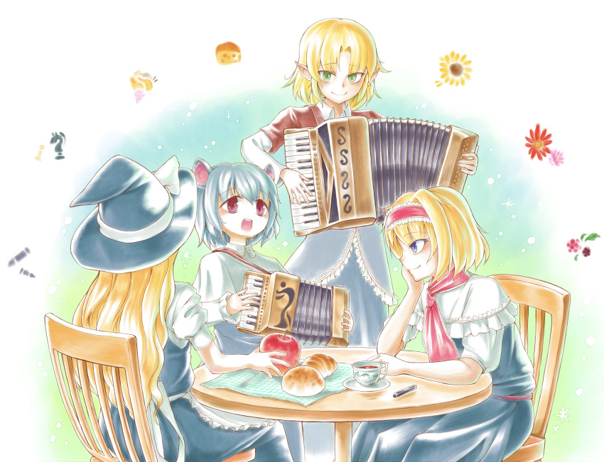 4girls absurdres accordion alice_margatroid animal_ears apple apron bangs black_dress black_skirt blonde_hair blouse blue_dress blue_eyes blush bow bread brown_jacket capelet chair cheese chess_piece closed_mouth commentary_request cookie_(touhou) cowboy_shot crepe croissant cup dress eyebrows_visible_through_hair flower food frilled_apron frilled_capelet frills from_behind fruit green_eyes grey_dress grey_hair hair_between_eyes hairband hat hat_bow head_rest highres ichigo_(cookie) instrument jacket joker_(cookie) kirisame_marisa knight_(chess) long_hair looking_at_another looking_at_viewer looking_to_the_side manatsu_no_yo_no_inmu mixed-language_commentary mizuhashi_parsee mouse_ears mouse_girl multiple_girls music nazrin nyon_(cookie) open_mouth plate playing_instrument pointy_ears puffy_short_sleeves puffy_sleeves red_apple red_eyes red_hairband red_neckwear shirt short_hair short_sleeves singing sitting skirt sleeveless sleeveless_dress smile standing sunflower suzu_(cookie) tea teacup touhou tsuno_(nicoseiga11206720) waist_apron white_apron white_blouse white_bow white_capelet white_shirt witch_hat yellow_flower