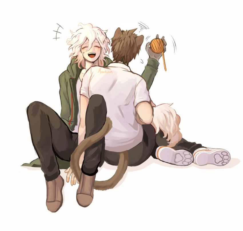 2boys :d ahoge animal_ears bangs brown_footwear brown_hair brown_pants cat_ears cat_tail closed_eyes commentary danganronpa_(series) danganronpa_2:_goodbye_despair dog_tail english_commentary facing_viewer flying_sweatdrops gabby_(moochisun) green_jacket grey_background hand_up happy highres holding jacket komaeda_nagito long_sleeves male_focus messy_hair multiple_boys open_clothes open_mouth pants shirt short_hair simple_background sitting smile squiggle tail upper_teeth white_hair white_shirt