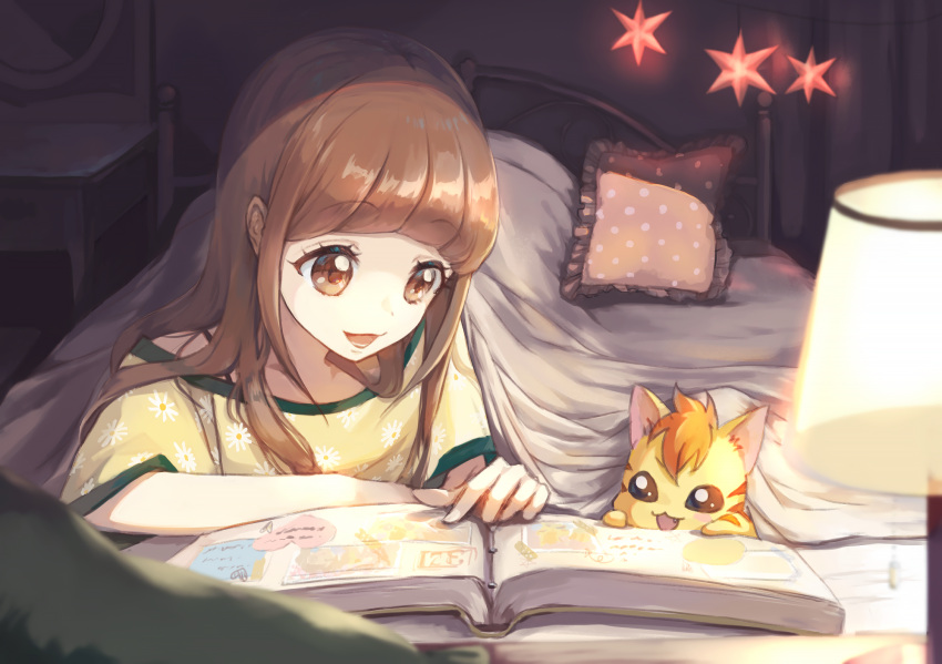 1girl bed blanket book bra_strap brown_eyes brown_hair commentary_request curtains desk_lamp eyebrows_visible_through_hair floral_print hair_down hair_over_shoulder healin'_good_precure highres hiramitsu_hinata indoors lamp long_hair looking_at_another lower_teeth lying nyatoran_(precure) on_stomach open_book open_mouth pajamas photo_(object) photo_album pillow pointing polka_dot_pillow precure rony round_teeth shared_blanket smile teeth under_covers yellow_pajamas