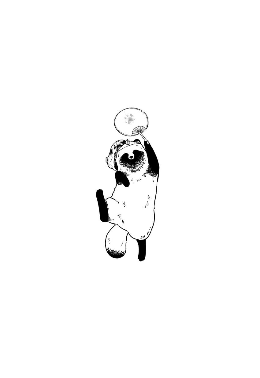 animal_focus fan full_body hand_up highres holding holding_fan jumping looking_at_viewer mask mask_on_head nikaidou_kou no_humans original paper_fan simple_background tanuki tanuki_(nikaidou_kou) white_background