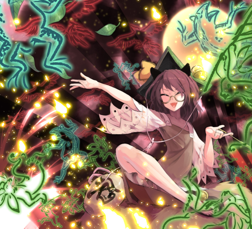 1girl alcohol animal_ears arm_at_side bangs bell bird bottle brown_dress brown_hair closed_eyes danmaku dress frog full_moon futatsuiwa_mamizou glasses glowing gourd grass hair_ornament hands_up hat hat_bell hat_ribbon holding holding_pipe indian_style jingle_bell kiseru leaf leaf_hair_ornament leaf_on_head light_particles moon open_mouth outstretched_arm outstretched_hand parody pipe rabbit raccoon_ears raccoon_tail ribbon sake sake_bottle semi-rimless_eyewear short_hair short_sleeves sidelocks silhouette sitting smile solo spell_card sunburst sunyup tail tanuki touhou under-rim_eyewear wide_sleeves yellow-framed_eyewear yellow_ribbon