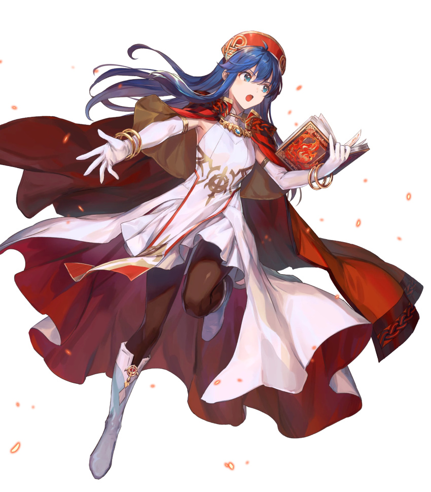 1girl alternate_costume azutarou bangs blue_eyes blue_hair book boots bracelet breasts cape dress elbow_gloves fire_emblem fire_emblem:_the_binding_blade fire_emblem_heroes full_body gloves hat highres holding holding_book jewelry knee_boots leg_up lilina_(fire_emblem) long_hair looking_away medium_breasts official_art open_mouth pantyhose pelvic_curtain red_cape shiny shiny_clothes shiny_hair skirt sleeveless sleeveless_dress solo transparent_background white_dress white_footwear white_gloves