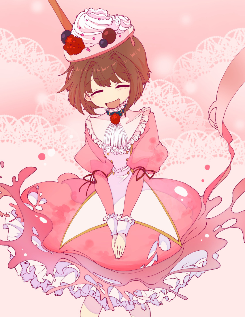 1girl ^_^ absurdres blue_collar brown_hair ciconia_no_naku_koro_ni closed_eyes collar doily dress food food_on_head frilled_dress frilled_sleeves frills fruit highres juliet_sleeves long_sleeves meow_(ciconia) object_on_head open_mouth pink_dress pink_theme prgdmk puffy_sleeves red_ribbon ribbon short_hair smile solo whipped_cream
