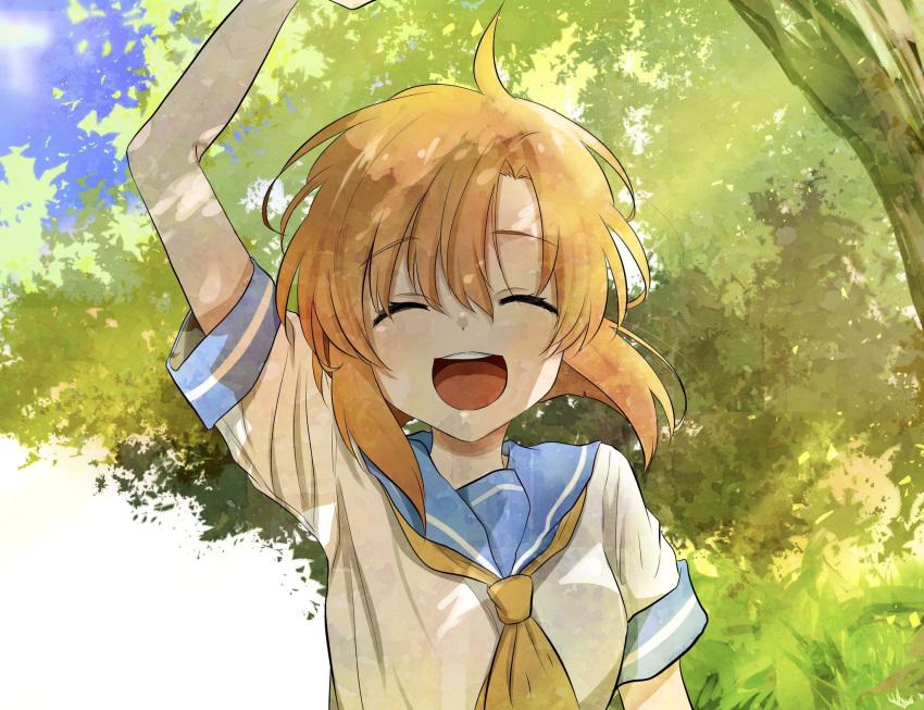 1girl :d ^_^ blue_sailor_collar closed_eyes eyebrows_visible_through_hair highres higurashi_no_naku_koro_ni leaf open_mouth orange_hair sailor_collar school_uniform shirt short_sleeves shosudo smile solo tree waving waving_arm