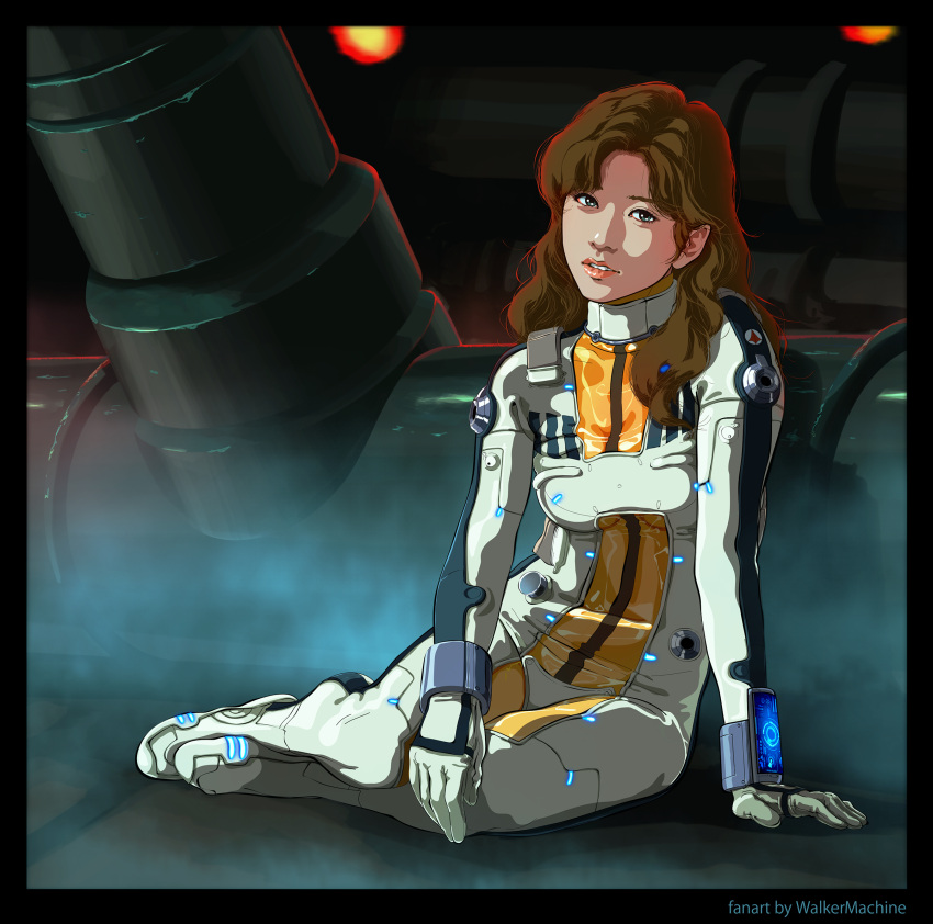1girl alien asian bodysuit boots brown_hair choujikuu_yousai_macross commentary commentary_request damaged emblem fog gloves hayase_misa highres lights lips long_hair looking_at_viewer lying machinery macross on_side pilot_suit realistic redesign resting science_fiction signature spacecraft_interior spacesuit spoilers tired u.n._spacy uniform walkermachine wrist_computer zentradi