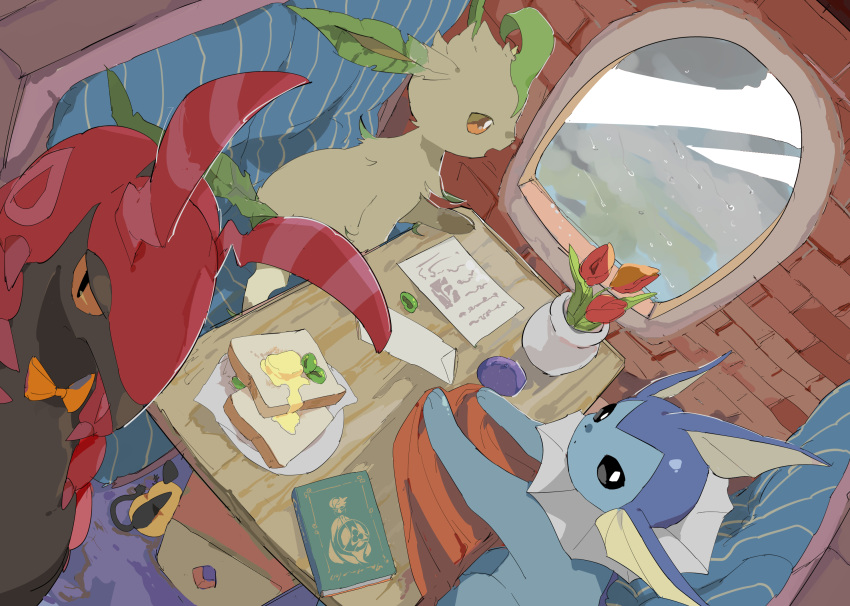 aegislash antennae apios1 berry_(pokemon) black_eyes black_sclera book booth bow bowtie bread_slice brown_sclera butter cafe commentary dedenne dutch_angle envelope flower food from_above from_behind from_side gardevoir gen_1_pokemon gen_3_pokemon gen_4_pokemon gen_5_pokemon gen_6_pokemon half-closed_eyes happy highres indoors leafeon looking_at_viewer looking_out_window looking_up mega_gardevoir mega_pokemon no_humans olive open_mouth oran_berry orange_neckwear orange_sclera paper plate pokemon pokemon_(creature) rain red_flower scolipede shiny sitting smile table tulip vaporeon vase white_eyes window