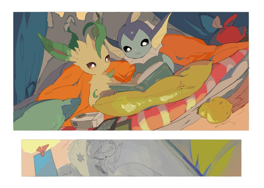 :3 apios1 bag berry_(pokemon) black_sclera blanket book bookmark brown_sclera camera commentary dutch_angle fisheye gardevoir gen_1_pokemon gen_3_pokemon gen_4_pokemon happy highres indoors leafeon looking_down mega_gardevoir mega_pokemon no_humans open_book open_mouth pillow pokemon pokemon_(creature) reading sitrus_berry smile tent tent_interior under_covers vaporeon white_eyes