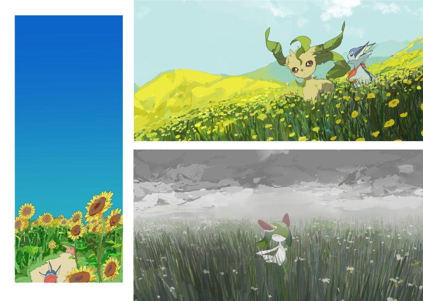 1girl apios1 bag bangs blue_sky brown_sclera child closed_eyes closed_mouth clouds cloudy_sky colored_skin commentary cutiefly day field flower flower_field flower_wreath from_side full_body gen_1_pokemon gen_2_pokemon gen_4_pokemon gen_7_pokemon grass green_hair green_skin hair_over_one_eye happy highres leafeon looking_up medium_hair mountainous_horizon multicolored multicolored_skin multiple_views no_mouth outdoors path pokemon pokemon_(creature) road sitting sky standing sunflora sunflower two-tone_skin vaporeon white_eyes white_flower white_skin yellow_flower