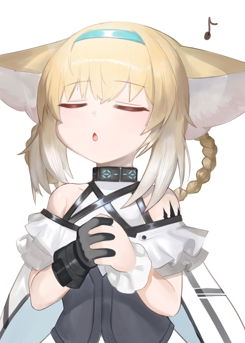 1girl animal_ear_fluff animal_ears arknights bangs bare_shoulders black_gloves blonde_hair blue_hairband blush braid chestnut_mouth closed_eyes commentary_request dokomon eighth_note eyebrows_visible_through_hair facing_viewer fox_ears gloves gradient_hair hair_between_eyes hair_rings hairband hands_clasped hands_up highres korean_commentary multicolored_hair music musical_note own_hands_together parted_lips shirt sidelocks simple_background singing single_glove single_wrist_cuff solo suzuran_(arknights) twin_braids upper_body white_background white_hair white_shirt wrist_cuffs