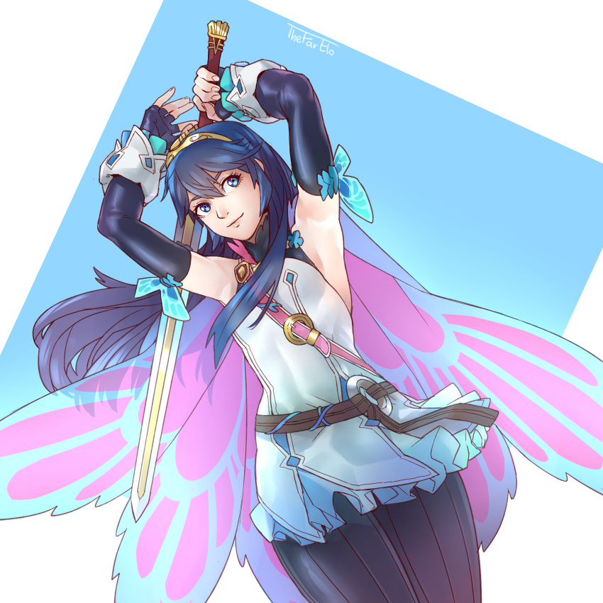 1girl absurdres alternate_costume armpits arms_up bangs blue_eyes blue_hair butterfly_wings falchion_(fire_emblem) fire_emblem fire_emblem_awakening fire_emblem_heroes hair_between_eyes highres holding holding_sword holding_weapon long_hair lucina_(fire_emblem) official_alternate_costume smile solo sword thefarelo tiara weapon wings