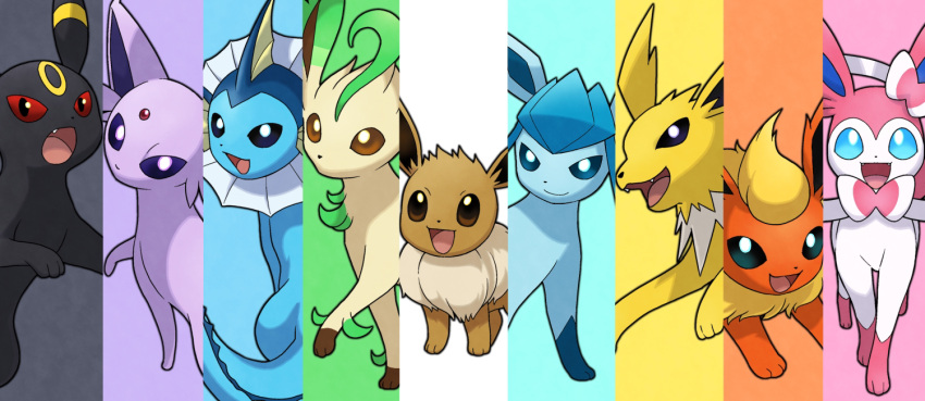 :d black_eyes blue_eyes brown_eyes close-up closed_mouth commentary_request creature eevee enishi_(menkura-rin10) espeon fang flareon gen_1_pokemon gen_2_pokemon gen_4_pokemon gen_6_pokemon glaceon jolteon leafeon looking_at_viewer no_humans open_mouth pokemon pokemon_(creature) red_eyes smile sylveon umbreon vaporeon violet_eyes