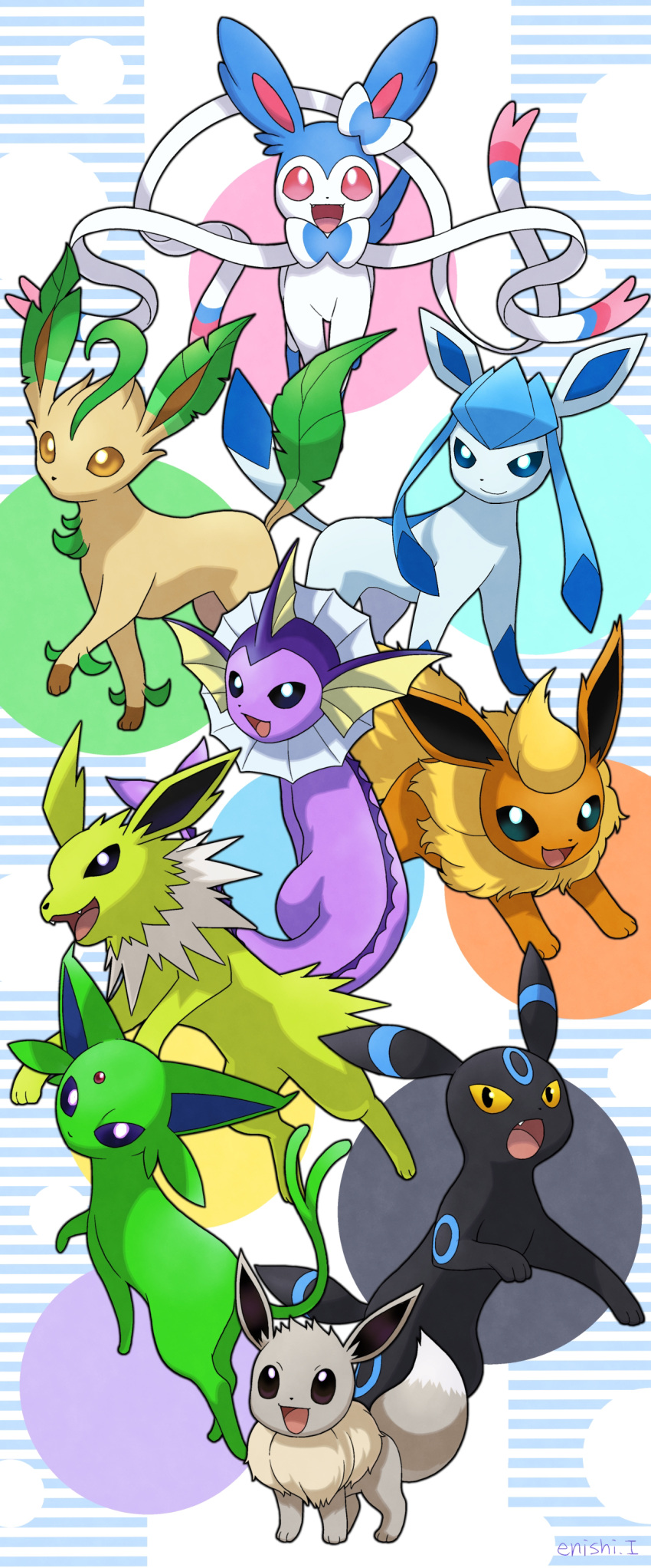 :d absurdres alternate_color black_eyes blue_eyes brown_eyes closed_mouth commentary_request creature eevee enishi_(menkura-rin10) espeon fang flareon gen_1_pokemon gen_2_pokemon gen_4_pokemon gen_6_pokemon glaceon highres jolteon leafeon looking_at_viewer no_humans open_mouth pokemon pokemon_(creature) shiny_pokemon simple_background smile striped striped_background sylveon umbreon vaporeon violet_eyes white_background yellow_eyes