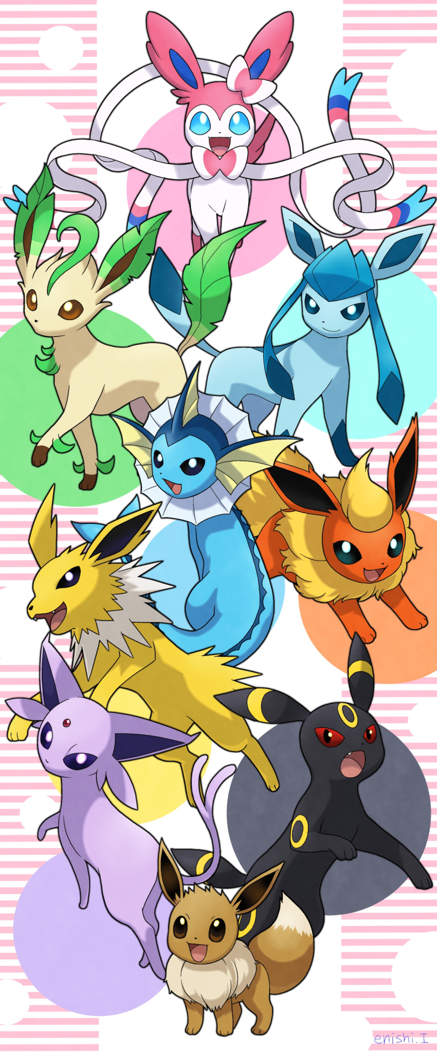 :d absurdres black_eyes blue_eyes brown_eyes closed_mouth commentary_request creature eevee enishi_(menkura-rin10) espeon fang flareon gen_1_pokemon gen_2_pokemon gen_4_pokemon gen_6_pokemon glaceon highres jolteon leafeon looking_at_viewer no_humans open_mouth pokemon pokemon_(creature) red_eyes simple_background smile striped striped_background sylveon umbreon vaporeon violet_eyes white_background