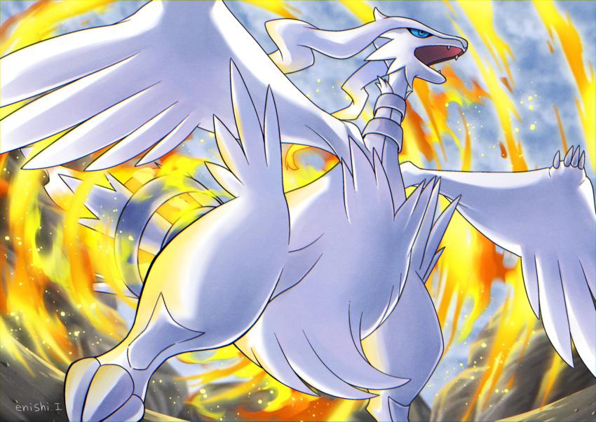 blue_eyes commentary creature enishi_(menkura-rin10) fangs fire full_body gen_5_pokemon highres legendary_pokemon no_humans official_style open_mouth pokemon pokemon_(creature) reshiram signature solo