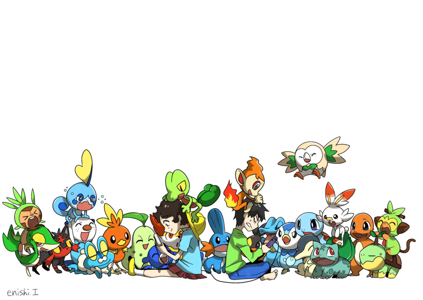 >_< 1boy 1girl :d ^_^ bird bulbasaur charmander chespin chikorita child chimchar closed_eyes commentary_request creature cyndaquil enishi_(menkura-rin10) facing_viewer fennekin flying froakie gen_1_pokemon gen_2_pokemon gen_3_pokemon gen_4_pokemon gen_5_pokemon gen_6_pokemon gen_7_pokemon gen_8_pokemon gotcha! gotcha!_boy_(pokemon) gotcha!_girl_(pokemon) grookey handheld_game_console hat highres holding holding_handheld_game_console litten looking_at_viewer mudkip on_head open_mouth oshawott piplup playing_games pokemon pokemon_(creature) pokemon_on_head popplio rowlet scorbunny signature simple_background smile snivy sobble squirtle tepig torchic totodile treecko turtwig white_background