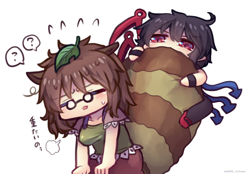 2girls =3 ? ahoge animal_ears annoyed arm_support arms_on_knees asymmetrical_wings black_hair black_legwear blue_wings blush breasts brown_hair brown_skirt brown_sleeves chibi closed_eyes collarbone commentary_request fluffy flying_sweatdrops futatsuiwa_mamizou glasses green_shirt hair_ornament houjuu_nue large_breasts large_tail leaf leaf_hair_ornament leaf_on_head leaning_forward messy_hair multiple_girls open_mouth pointy_ears raccoon_ears raccoon_girl raccoon_tail raglan_sleeves red_eyes red_footwear red_wings round_eyewear shirt short_hair simple_background skirt spoken_question_mark tail tail_hug tanuki touhou translation_request unime_seaflower white_background wings wristband