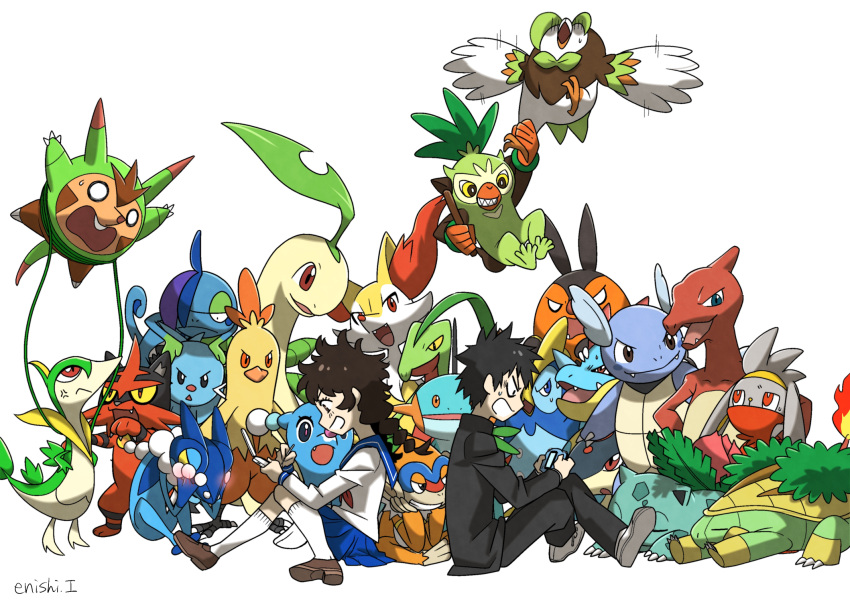 1boy 1girl :d bayleef bird braixen brionne charmeleon closed_eyes combusken commentary_request creature croconaw dartrix dewott drizzile enishi_(menkura-rin10) facing_viewer fangs flying frogadier gen_1_pokemon gen_2_pokemon gen_3_pokemon gen_4_pokemon gen_5_pokemon gen_6_pokemon gen_7_pokemon gen_8_pokemon gotcha! gotcha!_boy_(pokemon) gotcha!_girl_(pokemon) grin grotle grovyle handheld_game_console highres holding holding_handheld_game_console horns ivysaur looking_at_viewer marshtomp monferno open_mouth pignite playing_games pokemon pokemon_(creature) prinplup quilava quilladin raboot servine sharp_teeth signature simple_background single_horn smile teeth thwackey torracat wartortle white_background