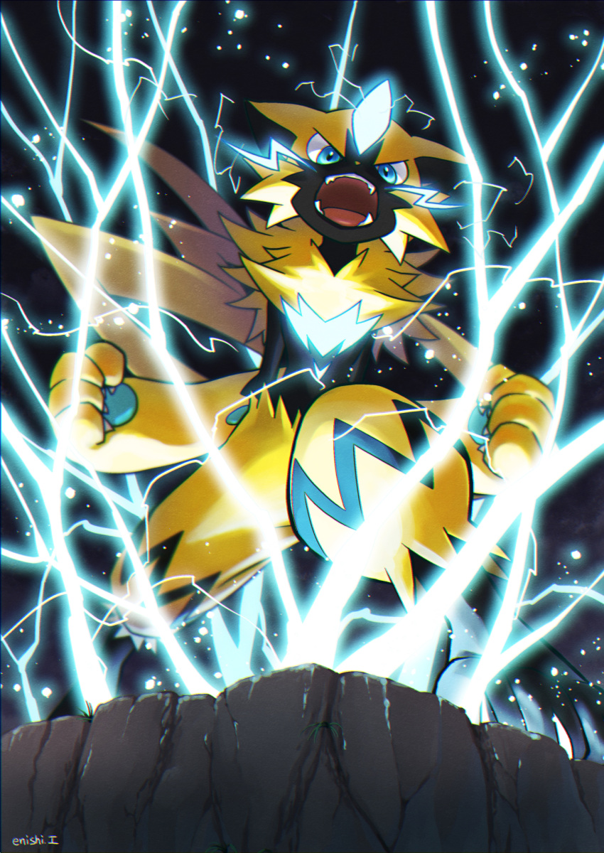 black_background blue_eyes claws cliff commentary_request creature electricity enishi_(menkura-rin10) full_body gen_7_pokemon glowing highres looking_at_viewer mythical_pokemon no_humans open_mouth pokemon pokemon_(creature) serious simple_background solo standing zeraora