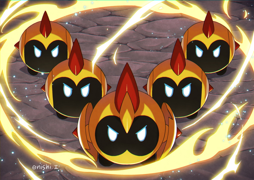 commentary_request energy enishi_(menkura-rin10) falinks gen_8_pokemon highres looking_at_viewer no_humans pokemon pokemon_(creature) shiny signature spikes standing white_eyes