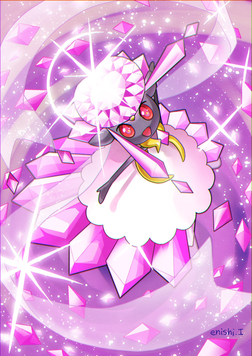 :d border commentary_request creature diancie enishi_(menkura-rin10) from_above full_body gen_6_pokemon happy highres looking_at_viewer looking_up mega_diancie mega_pokemon mythical_pokemon no_humans open_arms open_mouth pokemon pokemon_(creature) purple_theme red_eyes signature smile solo sparkle