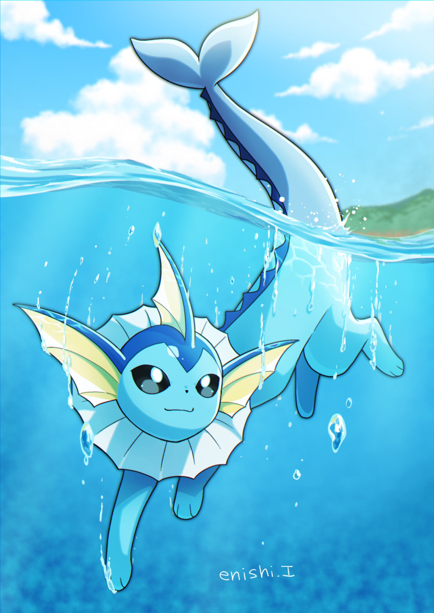 :3 air_bubble black_eyes blue_sky blue_theme bubble closed_mouth clouds cloudy_sky commentary_request creature day enishi_(menkura-rin10) full_body gen_1_pokemon happy highres no_humans outdoors partially_submerged pokemon pokemon_(creature) signature sky smile solo swimming vaporeon