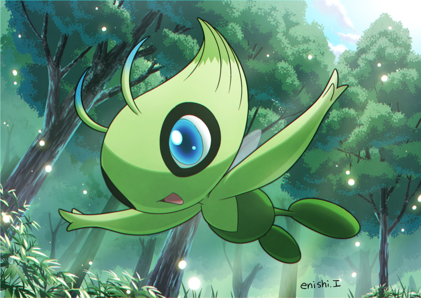 :d blue_eyes blue_sky celebi clouds cloudy_sky commentary_request creature day enishi_(menkura-rin10) flying forest full_body gen_2_pokemon grass happy highres mythical_pokemon nature no_humans open_arms open_mouth outdoors pokemon pokemon_(creature) signature sky smile solo sunlight tree