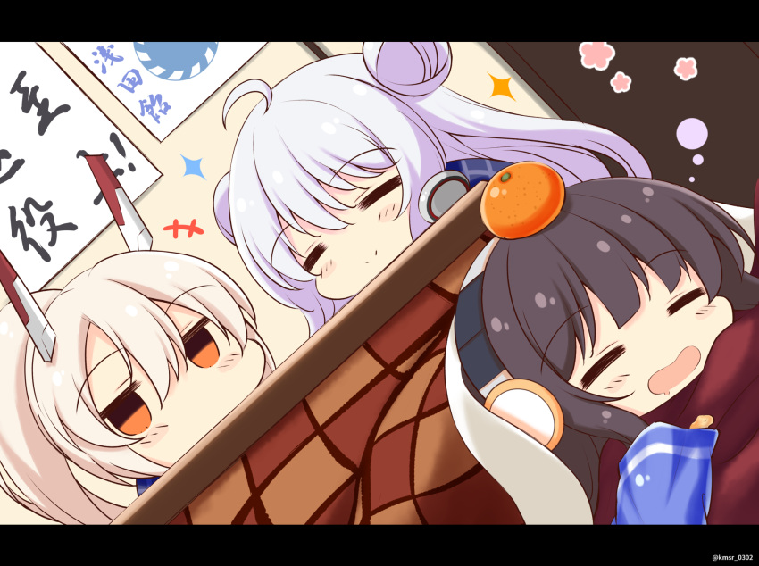 +++ 3girls =_= ahoge ayanami_(azur_lane) azur_lane bag_of_chips bangs black_hair blush_stickers chips closed_eyes closed_mouth commentary_request double_bun drooling dutch_angle eyebrows_visible_through_hair food fruit hair_between_eyes headgear headphones highres indoors kamishiro_(rsg10679) kotatsu le_malin_(azur_lane) light_brown_hair long_hair long_island_(azur_lane) mandarin_orange mouth_drool multiple_girls open_mouth ponytail potato_chips silver_hair sparkle table under_kotatsu under_table