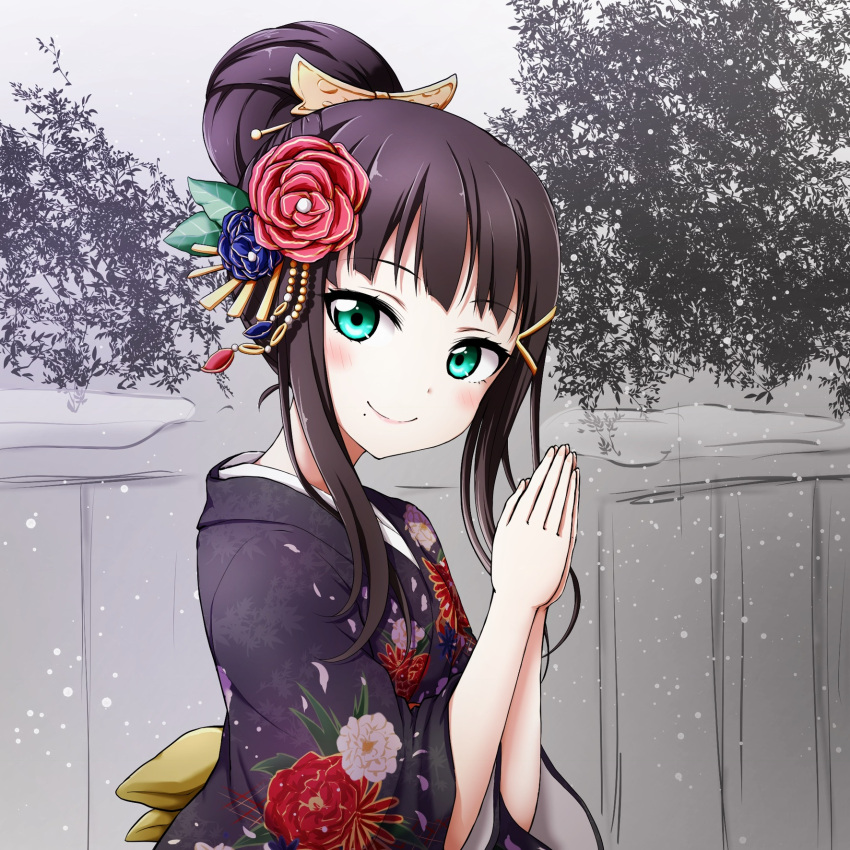 1girl aqua_eyes bangs black_hair blunt_bangs eyebrows_visible_through_hair flower hair_bun hair_flower hair_ornament hairclip highres japanese_clothes kimono kuena kurosawa_dia long_hair looking_at_viewer love_live! profile smile snowing solo upper_body
