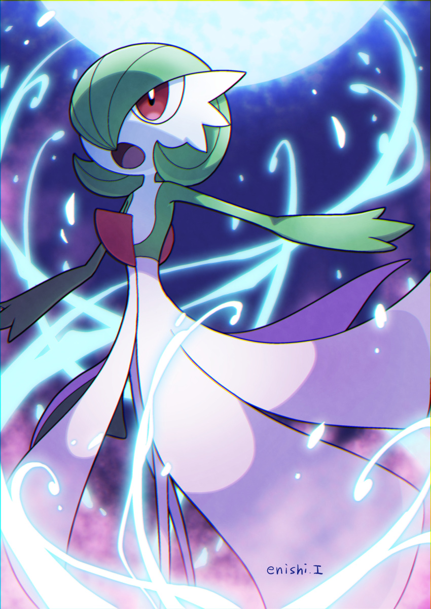commentary_request energy enishi_(menkura-rin10) from_below gardevoir gen_3_pokemon highres moonblast_(pokemon) open_mouth outstretched_arms pokemon pokemon_(creature) red_eyes signature solo tongue
