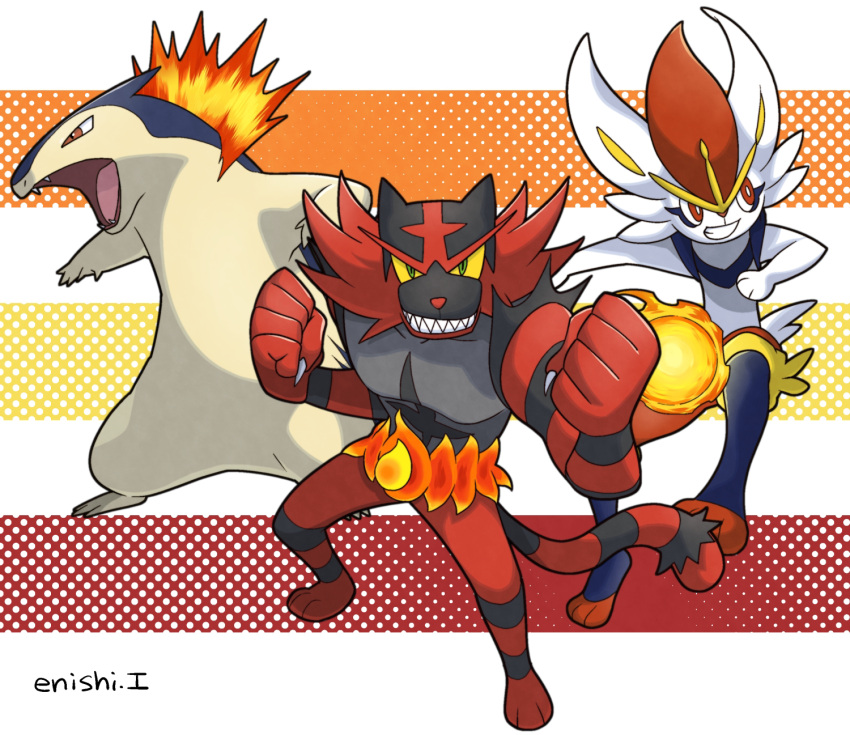 cinderace commentary_request creature enishi_(menkura-rin10) gen_2_pokemon gen_7_pokemon gen_8_pokemon highres incineroar looking_at_viewer no_humans pokemon pokemon_(creature) signature striped striped_background typhlosion