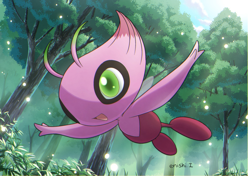 :d alternate_color blue_sky celebi clouds cloudy_sky commentary_request creature day enishi_(menkura-rin10) flying forest full_body gen_2_pokemon grass green_eyes happy highres mythical_pokemon nature no_humans open_arms open_mouth outdoors pokemon pokemon_(creature) shiny_pokemon signature sky smile solo sunlight tree