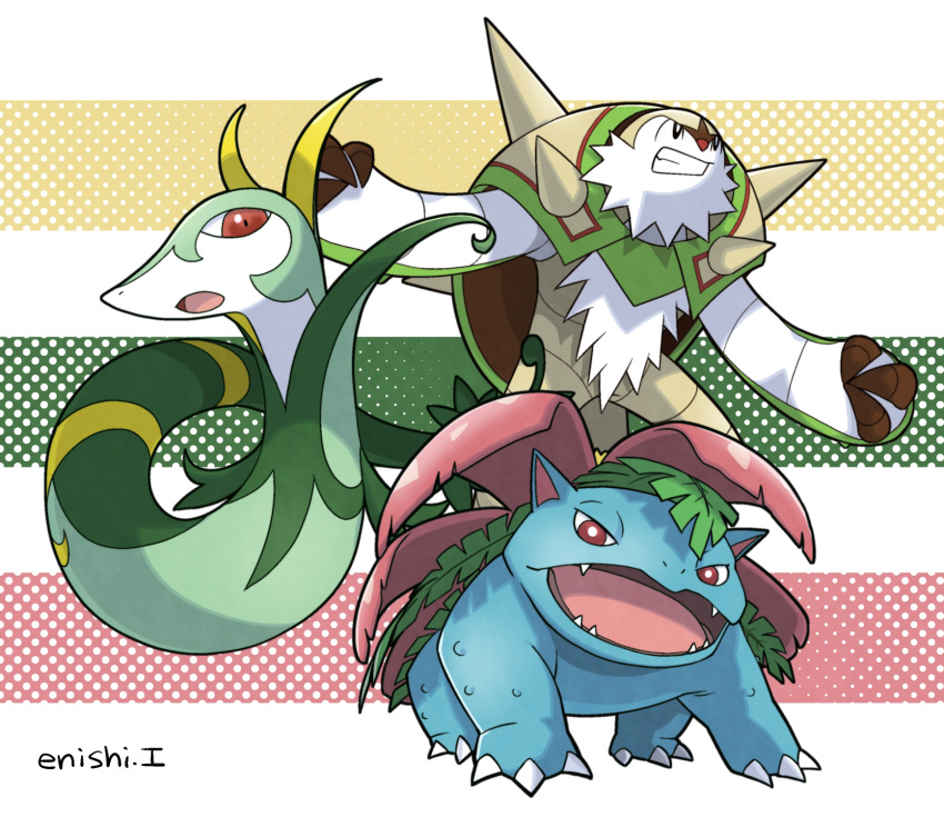 chesnaught commentary_request creature enishi_(menkura-rin10) gen_1_pokemon gen_5_pokemon gen_6_pokemon highres looking_at_viewer no_humans pokemon pokemon_(creature) serperior signature striped striped_background venusaur