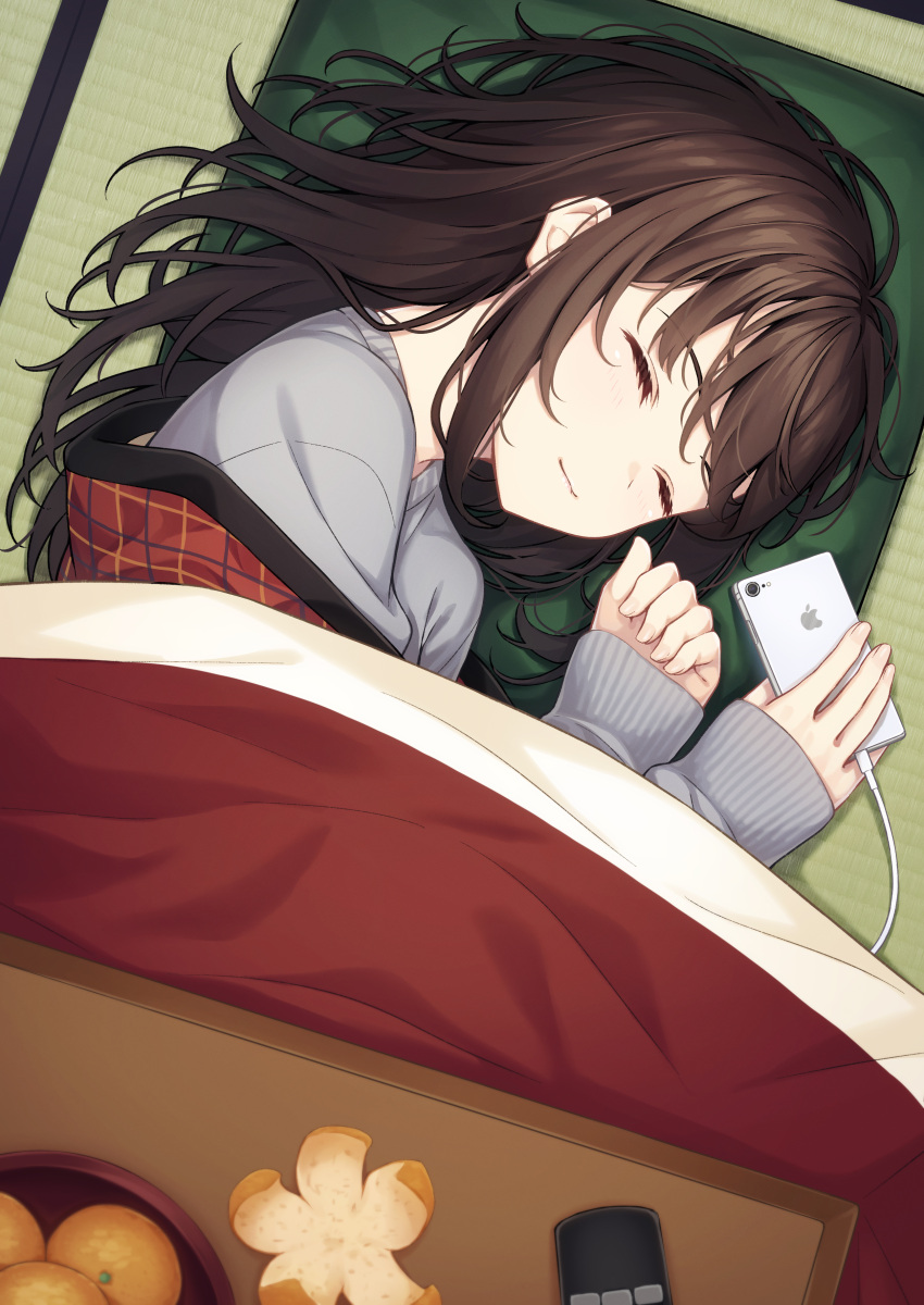 1girl absurdres blush brown_hair cellphone closed_eyes closed_mouth commentary_request cushion food from_above fruit grey_sweater highres indoors kotatsu long_hair long_sleeves lying mandarin_orange ochiai_miyabi on_side original phone sleeping sleeves_past_wrists smartphone smile solo sweater table tatami under_kotatsu under_table zabuton