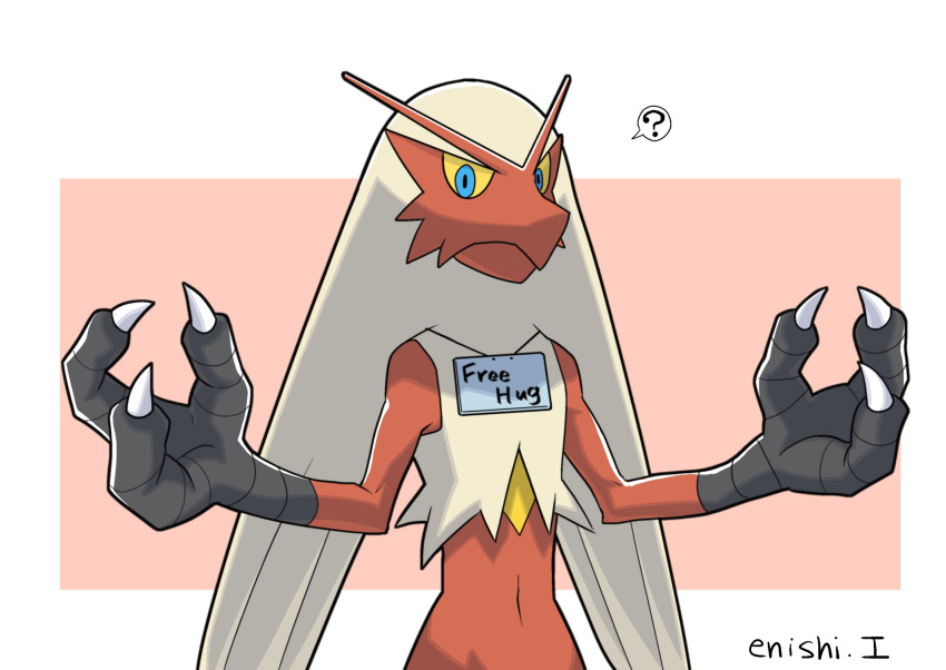 ? blaziken blue_eyes commentary_request creature english_text enishi_(menkura-rin10) free_hugs gen_3_pokemon highres looking_at_viewer no_humans open_arms pokemon pokemon_(creature) red_background signature simple_background spoken_question_mark upper_body