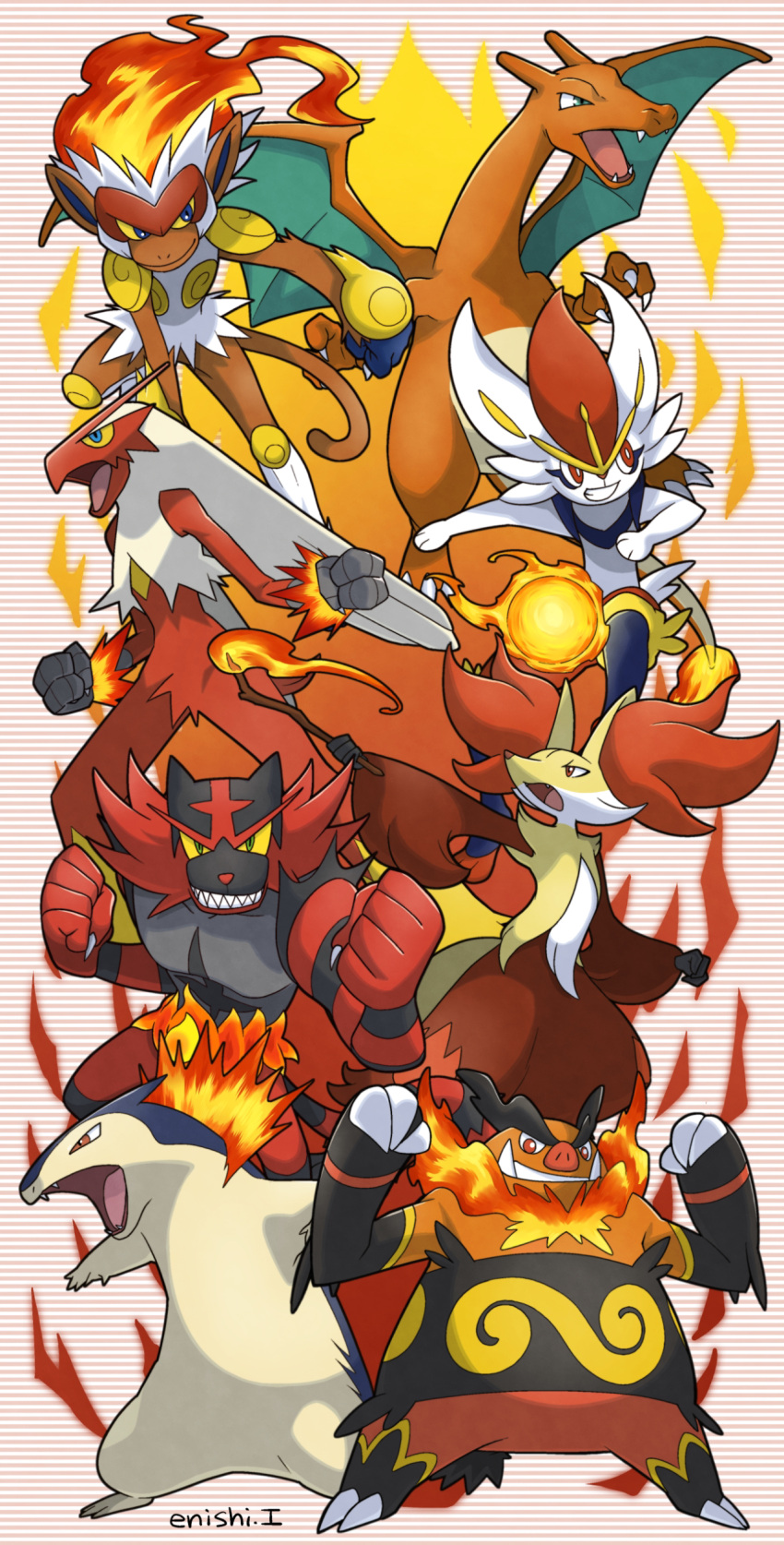 absurdres blaziken charizard cinderace commentary_request creature delphox emboar enishi_(menkura-rin10) gen_1_pokemon gen_2_pokemon gen_3_pokemon gen_4_pokemon gen_5_pokemon gen_6_pokemon gen_7_pokemon gen_8_pokemon highres incineroar infernape looking_at_viewer no_humans pokemon pokemon_(creature) signature striped striped_background typhlosion