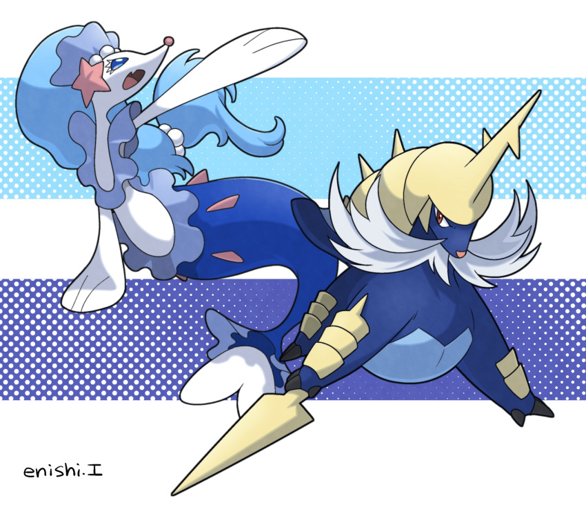 commentary_request creature enishi_(menkura-rin10) gen_5_pokemon gen_7_pokemon highres looking_at_viewer no_humans pokemon pokemon_(creature) primarina samurott signature striped striped_background