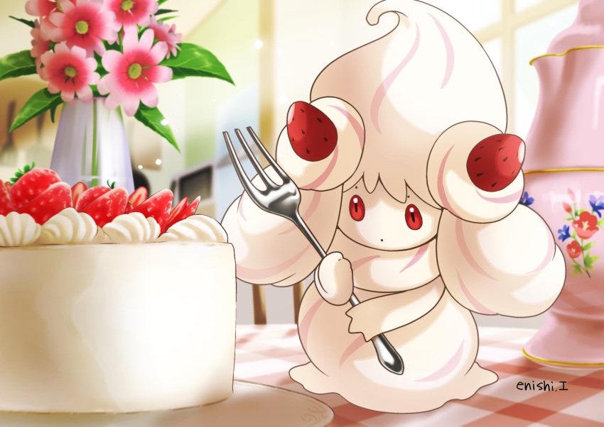 alcremie alcremie_(strawberry_sweet) alcremie_(vanilla_cream) commentary_request creature enishi_(menkura-rin10) flower food fork fruit full_body gen_8_pokemon highres holding holding_fork no_humans pokemon pokemon_(creature) red_eyes signature solo standing strawberry table vase