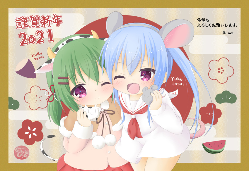 2girls ;) ;d animal animal_ears bangs blue_hair blush brown_capelet capelet chinese_zodiac closed_mouth commentary_request cow cow_ears cow_horns cow_tail dress egasumi eyebrows_visible_through_hair fake_animal_ears fake_horns fur-trimmed_capelet fur_trim green_hair grey_hairband hair_between_eyes hairband highres holding holding_animal horns jacket long_hair long_sleeves mouse mouse_ears mouse_girl mouse_tail multiple_girls neckerchief one_eye_closed open_mouth original pink_jacket pleated_skirt red_neckwear red_skirt ri-net romaji_text sailor_collar sailor_dress siblings sisters skirt sleeves_past_wrists smile tail translation_request twins twintails very_long_hair violet_eyes white_dress white_sailor_collar year_of_the_ox year_of_the_rat