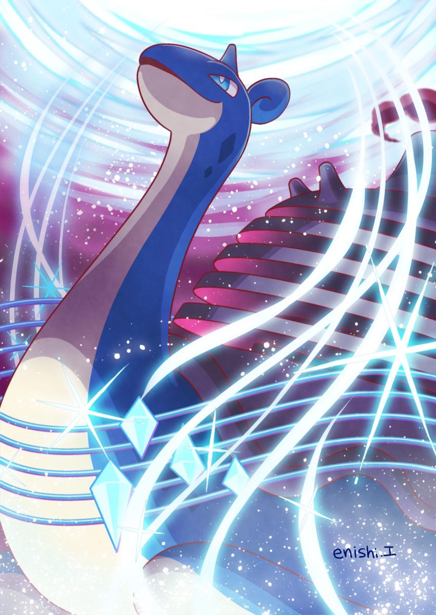 blue_eyes creature enishi_(menkura-rin10) gen_1_pokemon gigantamax gigantamax_lapras highres horns lapras no_humans pokemon pokemon_(creature) signature single_horn solo