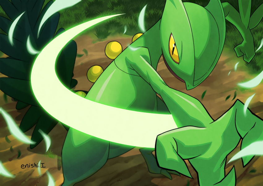 commentary_request creature day enishi_(menkura-rin10) fighting_stance gen_3_pokemon grass highres leaf looking_at_viewer motion_lines no_humans outdoors pokemon pokemon_(creature) sceptile shadow signature solo standing yellow_eyes