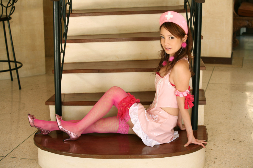 cosplay garters halter_top ishizaka_chinami midriff nurse nurse_uniform photo thigh-highs