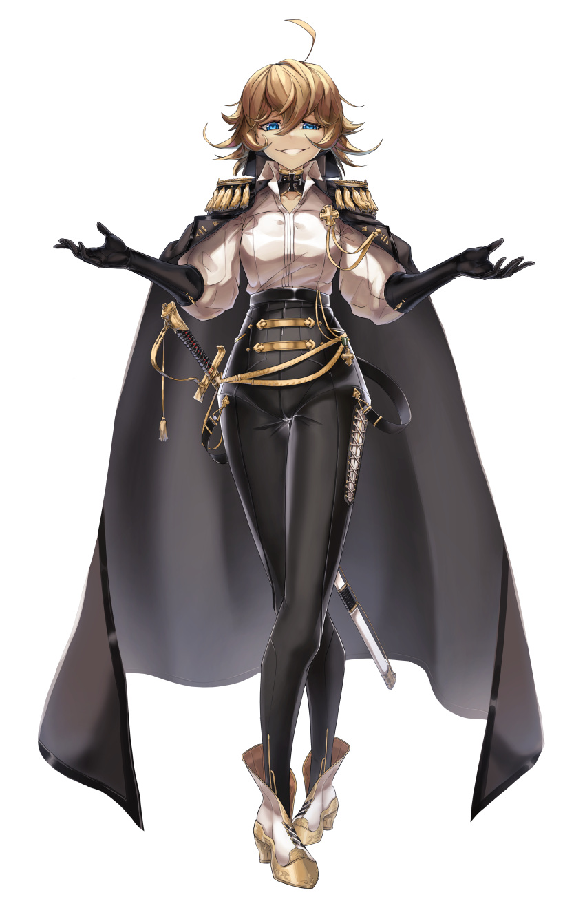1girl absurdres ahoge alternate_costume black_cape black_gloves black_legwear black_pants blonde_hair blue_eyes cape casul commentary cross-laced_clothes crossed_legs epaulettes fringe_trim full_body gloves gold_trim grin high-waist_pants highres iron_cross medal older outstretched_arms pants shirt short_hair smile solo spread_arms sword tanya_degurechaff uneven_eyes watson_cross weapon white_background white_footwear white_shirt youjo_senki