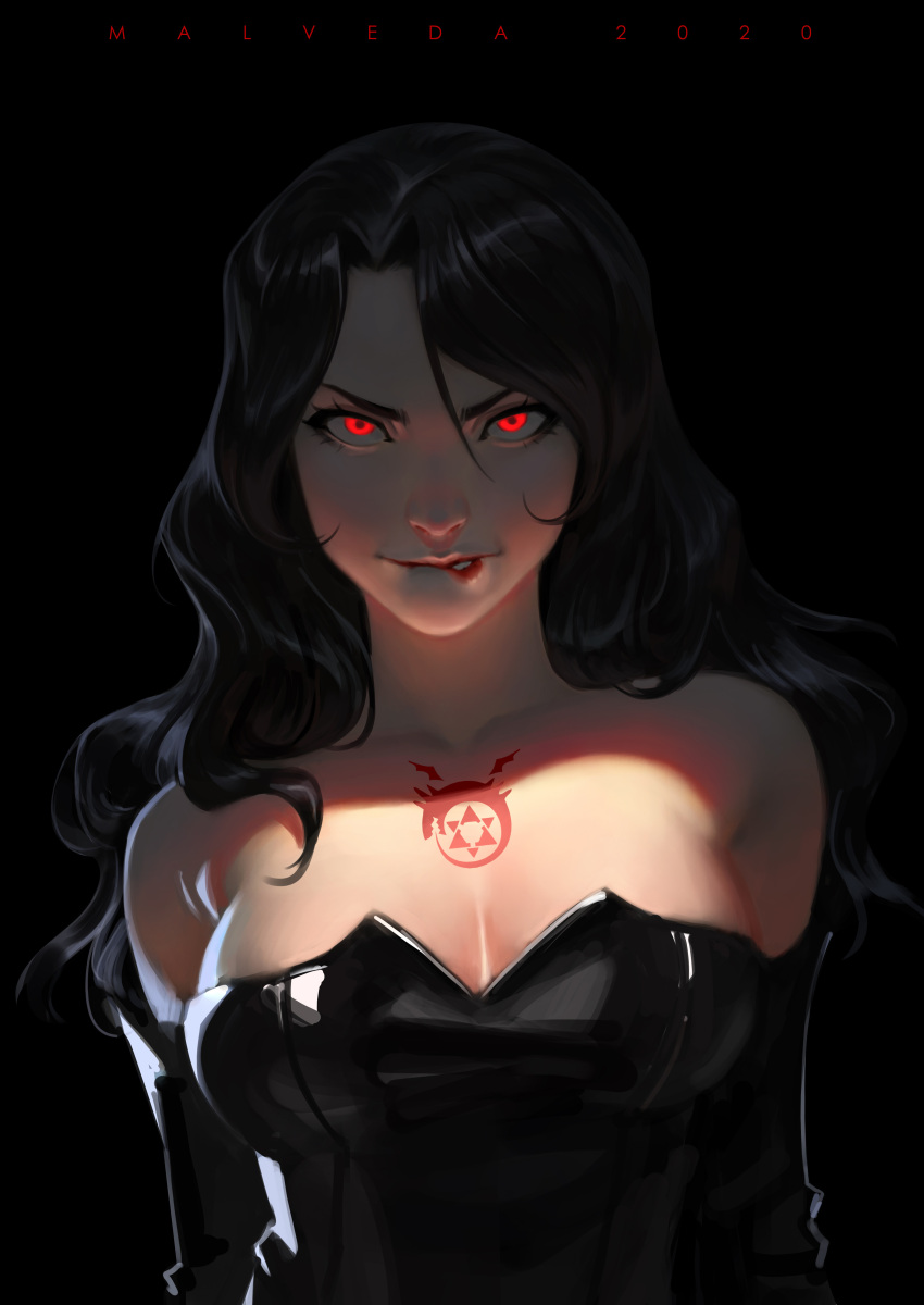 1girl absurdres alex_malveda artist_name biting black_hair breasts chest_tattoo elbow_gloves fullmetal_alchemist gloves glowing glowing_eyes highres latex lip_biting long_hair looking_at_viewer lust_(fma) makeup ouroboros red_eyes shadow shiny shiny_clothes solo tattoo upper_body