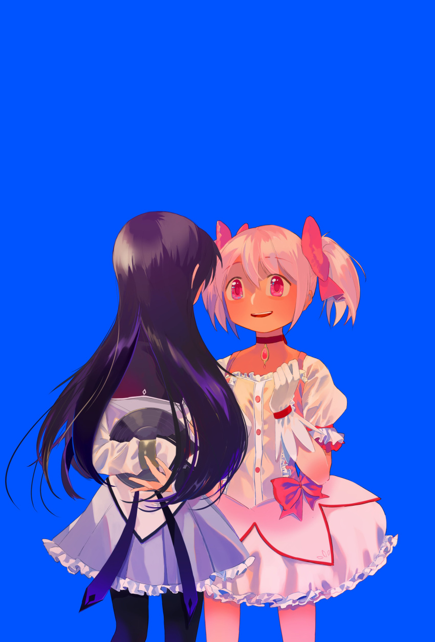 2girls absurdres akemi_homura arms_behind_back bare_legs black_capelet black_hair black_legwear blue_background bubble_skirt buttons capelet choker clenched_hand commentary_request cowboy_shot eyebrows_visible_through_hair facing_away facing_viewer flat_chest frilled_skirt frilled_sleeves frills gloves hair_ribbon hand_up happy hiding highres kaname_madoka legs_apart long_hair long_sleeves looking_at_another mahou_shoujo_madoka_magica multiple_girls open_mouth pantyhose pink_eyes pink_hair pink_ribbon pleated_skirt profile puffy_short_sleeves puffy_sleeves purple_skirt red_choker red_neckwear ribbon sate_(ryu_ryu_1212m) shield shiny shiny_hair short_sleeves short_twintails simple_background skirt smile soul_gem standing straight_hair teeth twintails white_gloves white_skirt