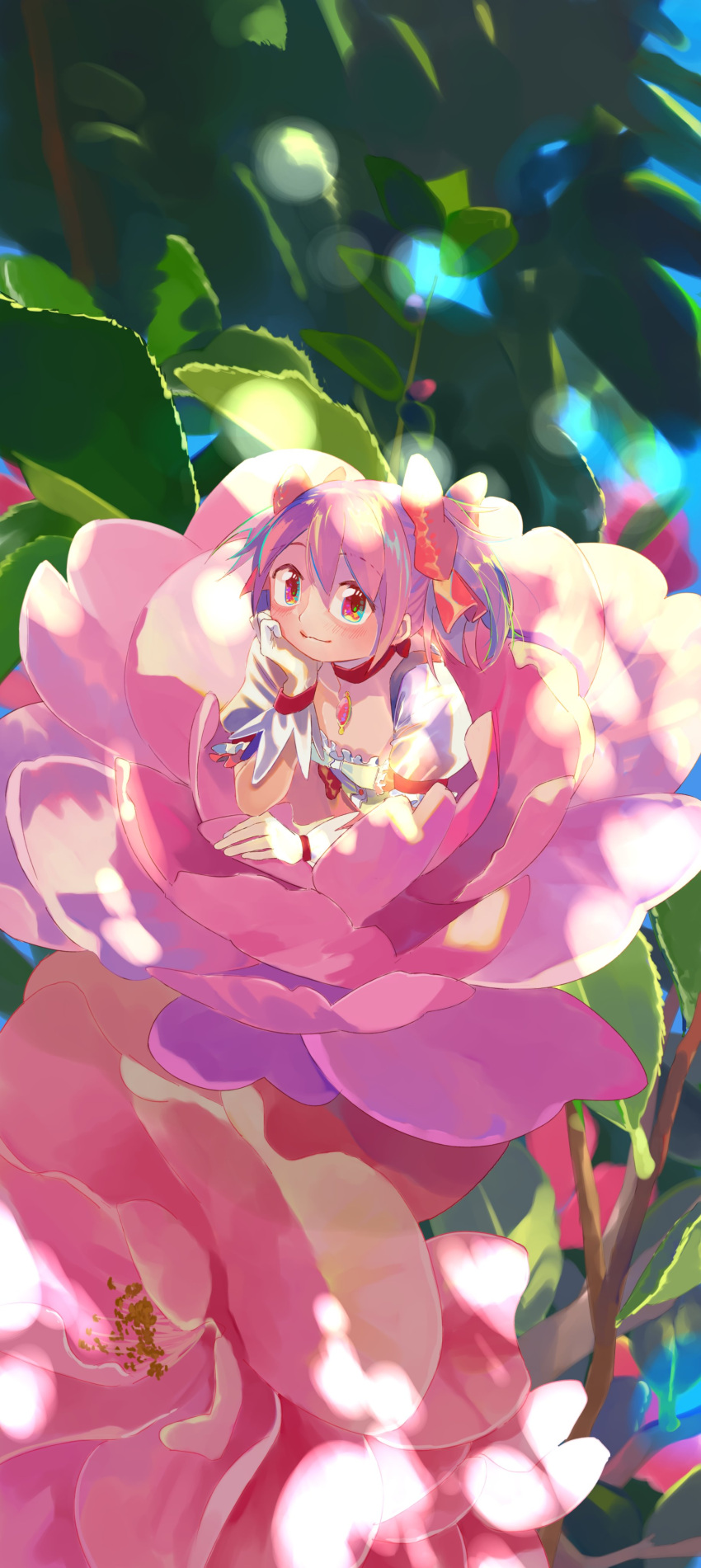 1girl absurdres aqua_eyes big_eyes blue_sky branch choker closed_mouth commentary_request dappled_sunlight day elbow_rest eyebrows_visible_through_hair flower flower_request frills gloves hair_ribbon happy head_rest highres kaname_madoka leaf light_blush light_smile looking_at_viewer mahou_shoujo_madoka_magica minigirl multicolored multicolored_eyes orange_eyes outdoors oversized_flowers oversized_object pink_eyes pink_flower pink_ribbon puffy_short_sleeves puffy_sleeves red_choker red_eyes red_neckwear ribbon sate_(ryu_ryu_1212m) shiny shiny_hair short_sleeves short_twintails sky solo soul_gem sunlight tareme twintails violet_eyes white_gloves wide_shot yellow_eyes