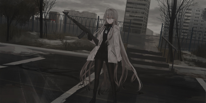 1girl an-94 assault_rifle bangs bare_tree black_footwear black_gloves black_neckwear black_shirt black_shorts boots building chihuri closed_mouth clouds cloudy_sky collared_shirt ear_piercing eyebrows_visible_through_hair fence gloves grey_eyes grey_hair gun hair_between_eyes highres holding holding_gun holding_weapon jacket legwear_under_shorts long_hair long_sleeves looking_at_viewer necktie open_clothes open_jacket original outdoors overcast pantyhose piercing railing rifle ruins shirt short_shorts shorts sky solo stairs standing stone_stairs tree very_long_hair weapon white_jacket zoya_petrovna_vecheslova
